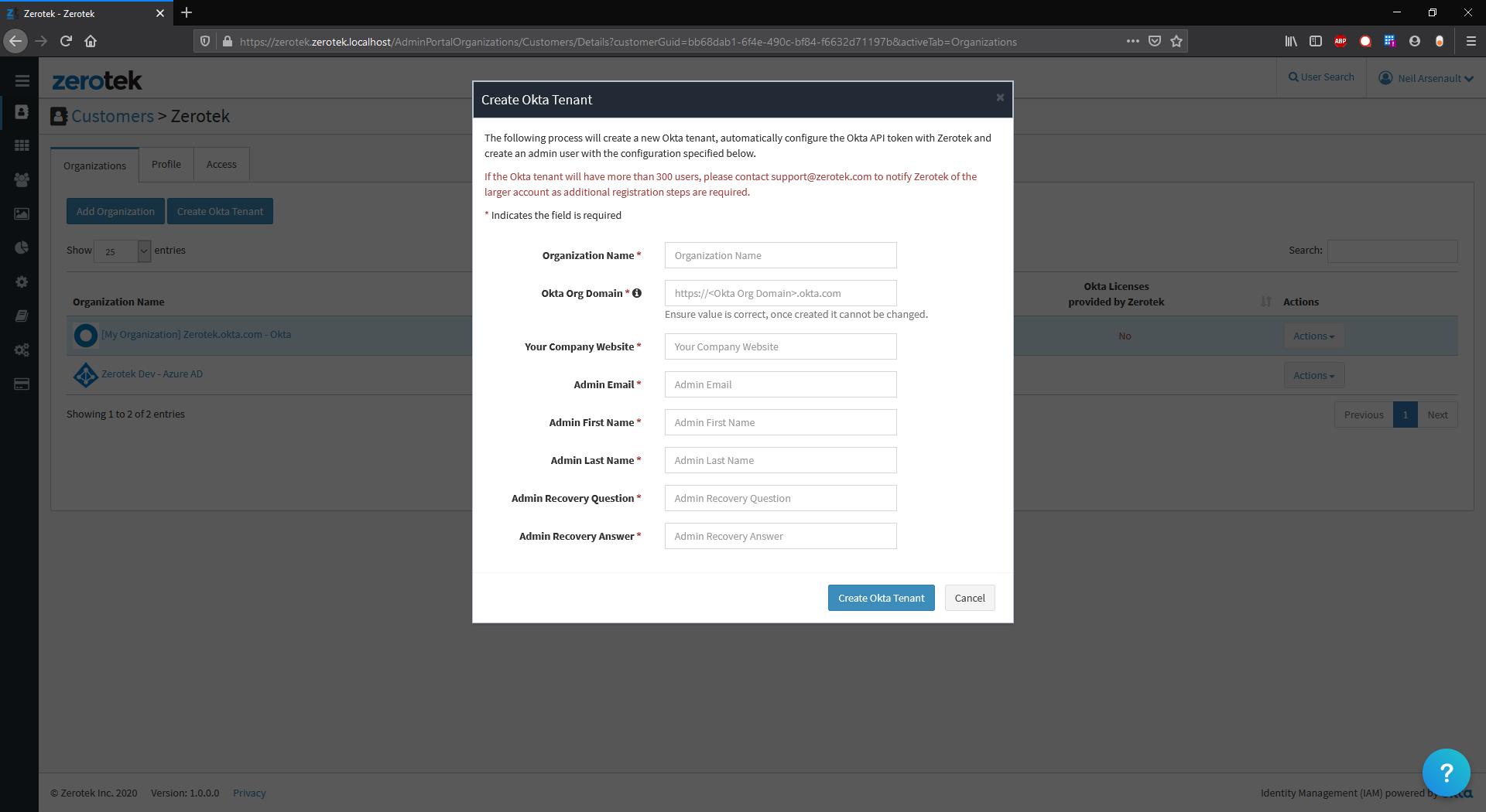 Create New Customer / New Okta Tenant